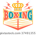 Retro emblem with boxing ring. 37491355