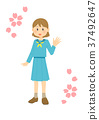 นักเรียนมัธยมปลาย,เด็กผู้หญิง,ดอกซากุระบาน 37492647