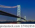 akashi kaikyo bridge, night scape, night scene 37492856