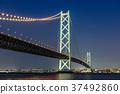 akashi kaikyo bridge, night scape, night scene 37492860
