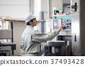 마을 공장 기계를 조작하는 남성 근로자 37493428