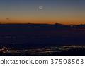 새벽의 달과오다 와라 방면의 야경 (야마나카 코 · 明神山) 37508563