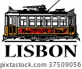 Old classic yellow tram of Lisbon 37509056