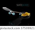 3d Illustration of Skateboard deck with helmet 37509921
