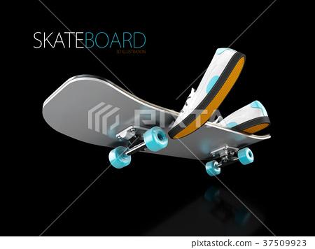 3d Illustration of Skateboard deck on black 37509923