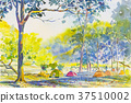 Painting colorful  mountain of Camping overnight. 37510002