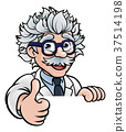 Scientist Cartoon Character Sign Thumbs Up 37514198