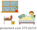 감기, 독감, 질병의 이미지 일러스트. 37516235