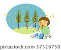 꽃가루 알레르기와 삼나무 일러스트. 알레르기의 이미지 일러스트. 37516750