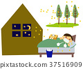 Hay fever and night illustration. Lack of sleep. Illustration of allergy. 37516909