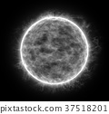 Gray planet isolated on black background 37518201