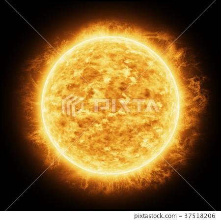 Bright and hot orange sun 37518206