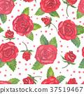 Elegant watercolor red roses seamless pattern. 37519467