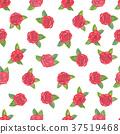Elegant watercolor red roses seamless pattern. 37519468