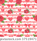 Red roses and hearts seamless pattern. 37519471