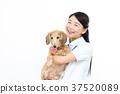 여성, 여자, 애완동물 37520089