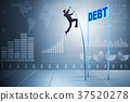Businessman pole vaulting over debt in business 37520278