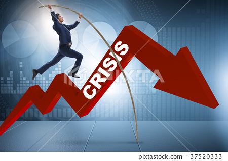 Businessman pole vaulting over crisis in business 37520333