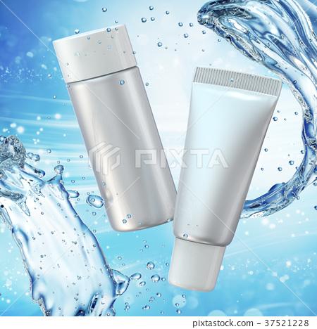 Cream bottle mock up in water splash on blue bokeh 37521228