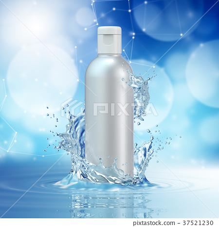 Cream bottle mock up in water splash on blue bokeh 37521230