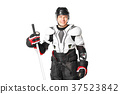 Hockey player in safety gear isolated on white 37523842