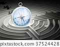 Compass inside labyrinth maze. 3D rendering 37524428