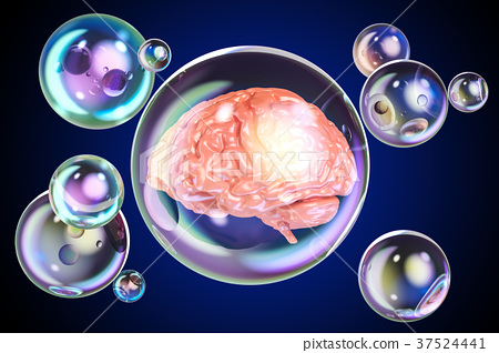 Human brain inside soap bubbles, 3D rendering 37524441