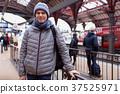 Tourist on the platform of Copenhagen station 37525971