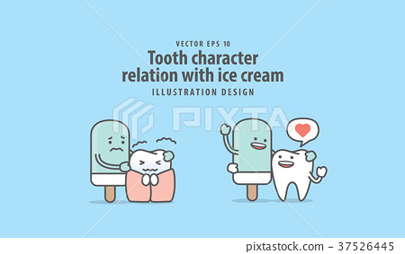 Tooth character relation with ice cream vector 37526445