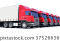 Row of cargo trucks isolated on white 37526636
