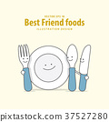 Cartoon character Fork, Plate, Spoon, Knife vector 37527280