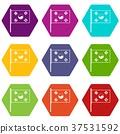 South Korea flag icon set color hexahedron 37531592