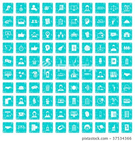 100 coherence icons set grunge blue 37534366