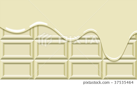 Melting board chocolate background (white) | white chocolate | chocolate sweets dessert | vector data 37535464