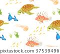 海洋动物 插画 四方连续图 37539496