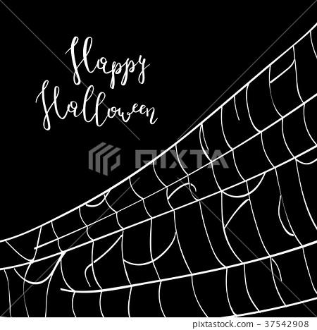 Happy halloween backdrop with creepy cobweb 37542908