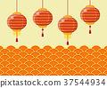 Chinese new year lanterns with traditional wave 37544934