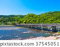 Togetsu Bridge and Katsuragawa of the fresh green 37545051