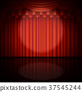 Spotlight on stage and red curtain. EPS 10 vector 37545244