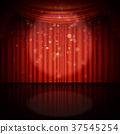 Stage with red curtain. EPS 10 vector 37545254