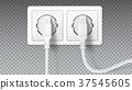 Electric plugs in socket. Realistic white plugs 37545605