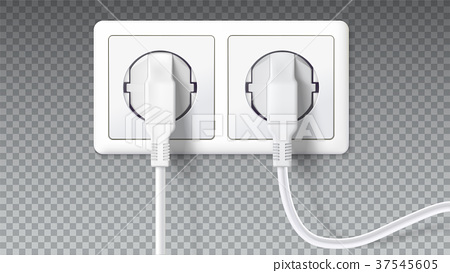 Electric plugs in socket. Realistic white plugs 37545605