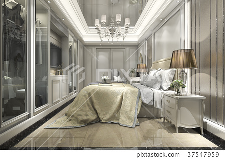 modern luxury classic bedroom with walk in closet 37547959