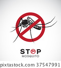 Vector of mosquito in red stop sign. Insect. 37547991