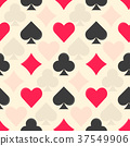 Flat vector colorful playing card suits pattern 37549906