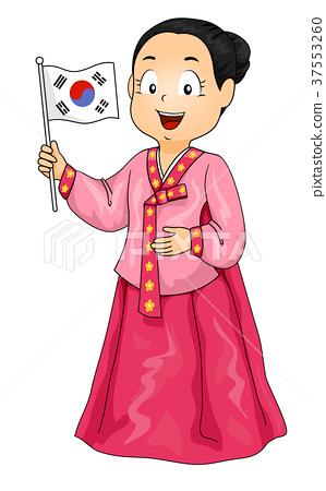 Kid Girl Costume Korean Flag Illustration 37553260