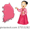 Kid Girl Map South Korea Illustration 37553282