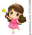 Kid Girl Princess Golden Ball Illustration 37553288