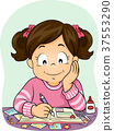 Kid Girl Scrapbook Pictures Illustration 37553290