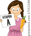 Kid Girl Vitamin Carrot Illustration 37553296